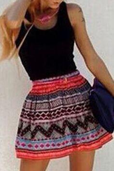 Chic U Neck Sleeveless Spliced Printed Dress For Women