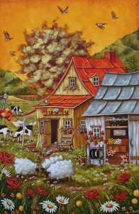 art of Christine Genest Creation Photo, Acrylic Artwork, One Stroke Painting, Naive Art, Farm Yard, Cool Artwork, Oeuvre D'art, Illustrations, Home Art