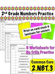 2nd Grade Numbers Practice - Common Core 2.NBT.3    $
