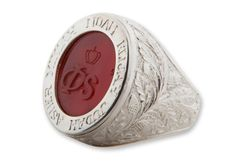Custom Monogram Ring Sterling Silver And Engraved Stone by Regnas