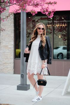 Leather and Lace, moto jacket, white lace dress, spring fashion, outfit ideas, fashion blogger, Rachel Puccetti, Between Two Coasts