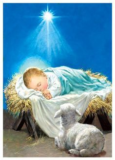 Jesus is born in Luke Mary and Joseph have to travel to Jerusalem. Jesus is born in a barn. He is placed in a manger. Christmas Scenes, Christmas Nativity, Christmas Pictures, The Nativity, Image Jesus, Illustration Noel, O Holy Night, Birth Of Jesus, Daughters Of The King
