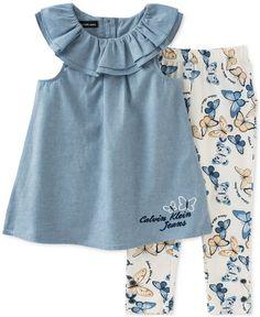 Calvin Klein Baby Girls' 2-Piece Tunic & Butterfly-Print Leggings Set