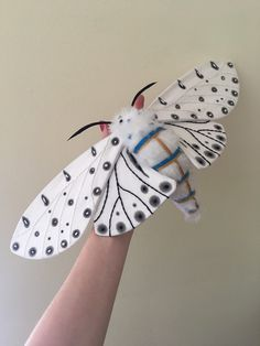 Giant Leopard Moth Soft Sculpture by MollyBurgessDesigns on Etsy https://www.etsy.com/listing/295058507/giant-leopard-moth-soft-sculpture