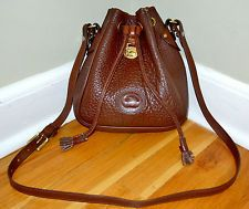 Dooney & Bourke Vintage Genuine Leather Brown Bag Purse Drawstring Cross Body
