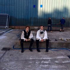 Outlander Season  2 BtS pic with Sam Heughan and Tobias Menzie as Jamie Fraser & Black Jack Randall