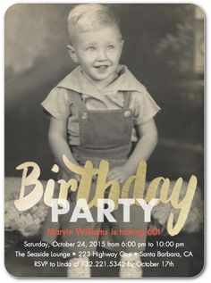 Pure Gleam - Adult Birthday Party Invitations in White or Slate | Petite Alma