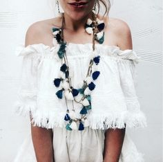 The Dara Tassel Necklace takes any basic outfit to anything but. Handmade double strand goldtone beaded necklace punctuated by a myriad of colorful ocean blue thread tassels. Boho Fashion, Fashion Beauty, Fashion Outfits, Womens Fashion, Fashion Trends, Texas Fashion, Outfits Inspiration, Style Inspiration, Spring Summer Fashion