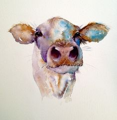 cow a painting in watercolour by artist jane davies (tattoo) Watercolor Art Face, Watercolor Animals, Easy Watercolor, Watercolor Horse, Cow Painting, Painting & Drawing, Pintura Zen, Cow Pictures, Cow Art