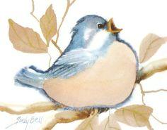 Blue Bird Watercolor Whimsical Art Print by judithbelloriginals