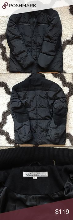 Kenneth Cole Down Jacket Mixed media down to wool jacket by Kenneth Cole! Cannot find in store or online! Black down puffer-like jacket. Wool trimmings/patches on shoulders and elbows. One winter of use, great condition! Kenneth Cole Jackets & Coats