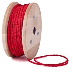 Red twisted textile cable by Cablelovers