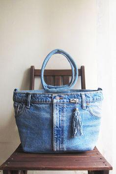 SALE Vintage handmade upcycled blue denim jeans tote by sunfafa, $390.00