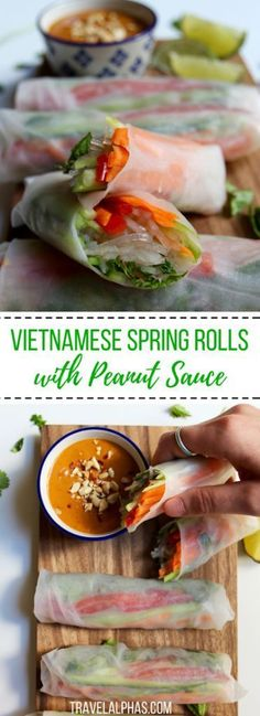 Looking for an easy and healthy, yet super satisfying Vietnamese spring rolls recipe? These vegan, gluten-free rolls with spicy peanut sauce are perfect! Vegetable Recipes, Vegetarian Recipes, Cooking Recipes, Healthy Recipes, Snack Recipes, Peanut Recipes, Healthy Herbs, Vegetable Stock, Gastronomia