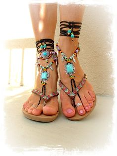 Turquoise Boho BAREFOOT Sandals FESTIVAL sandals Native Cowgirl Toe Thongs Statement foot wear sole less shoes crochet foot jewelry GPyoga  #FootJewelry   #jewelry  @hpman