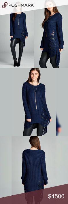 Navy Knit Frayed Long Tunic Sweater Navy Knit Frayed Long Tunic Sweater 100% Acrylic No Trades Price Firm Unless Bundled Glamvault Tops Tunics