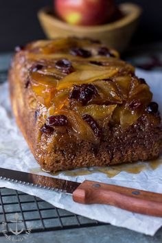 Caramelized Apple Cranberry Upside Down Bread | The Beach House Kitchen