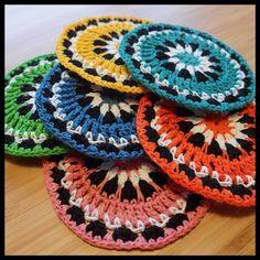 """""""A Christmas present for my mum and dad.  #crochet #virka #virkat #coaster #underlägg #diy #handmade #handarbete #colorful #färgglatt"""" Photo taken by @virknalenochmajskroken on Instagram, pinned via the InstaPin iOS App! http://www.instapinapp.com (12/26/2013)"""