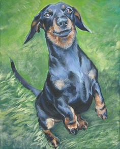 "Dachshund art print giclee canvas of a painting by L.A.Shepard 8 x 10"" dog art"