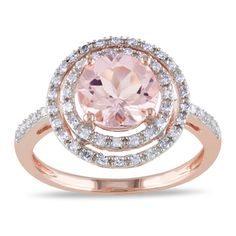 @Overstock.com.com - Miadora 10k Rose Gold Morganite and 1/4ct TDW Diamond Ring (H-I, I2-I3) - Round-cut morganite and diamond double halo ring10-karat rose gold jewelryClick here for ring sizing guide  http://www.overstock.com/Jewelry-Watches/Miadora-10k-Rose-Gold-Morganite-and-1-4ct-TDW-Diamond-Ring-H-I-I2-I3/8236812/product.html?CID=214117 $469.99