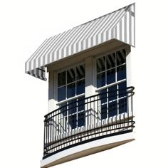 AWNTECH 20 ft. New Yorker Window/Entry Awning (24 in. H x 36 in. D) in Gray/White Stripe