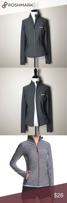 """BENCH Grey """"Purna E"""" Track Jacket BENCH Womens Grey Purna E Track Jacket Size Small EXCELLENT Pre-Owned Condition  Details: Lightweight Slim Fit High Collar Full Length Zipper 2 Front Zipper Pockets Thumb Holes  Approximate Measurements: (Laying Flat): Bust is 35 in. Shoulder to shoulder is 15.5 in. Shoulder seam to hem is 22 in. (Front) Shoulder seam to hem is 24 in. (Back)  Fabric: 51% Nylon Supplex 41% Polyester 8% Lycra Spandex  Thank you for shopping my closet! 😊 Bench Jackets & Coats"""