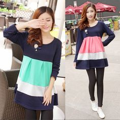 cf67098b2e4dc Fashion maternity dresses 2014 winter korean casual loose color block maternity  skirt,Plus size clothes for pregnant women