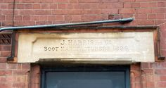 Door lintel detail from J. Harris, Boot Manufacturer's factory, now converted to living accommodation, Factory Road, Hinckley.