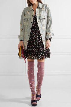 Marc Jacobs - Faux Pearl-embellished Intarsia Wool Knee Socks - Plum -