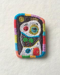 "Brooch ""Hundertwasser N7"" hand embroidery by makiko, $32.00 #Gift #Etsy"
