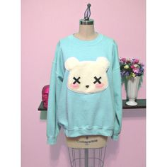 Pastel Goth Kawaii Grunge Deaddy Bear - Dead Teddy Bear Oversized... (58 CAD) ❤ liked on Polyvore featuring tops, hoodies, sweatshirts, shirts, sweaters, pastel goth, oversized shirt, oversized sweatshirt, checked shirt and grunge shirts