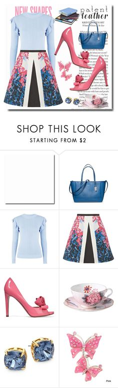 """Pink and patent #patentleather"" by elzbeth2609 ❤ liked on Polyvore featuring Coach, Charli, Glamorous, Peter Pilotto, Valentino, Wedgwood, Tory Burch and patentleather"