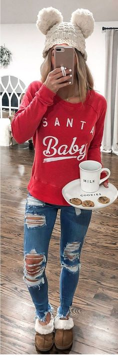 red Santa Baby-printed sweater & that hat! Outfits Otoño, Fall Fashion Outfits, Fall Winter Outfits, Autumn Winter Fashion, Girl Fashion, Casual Outfits, Womens Fashion, Christmas Outfits, Winter Style
