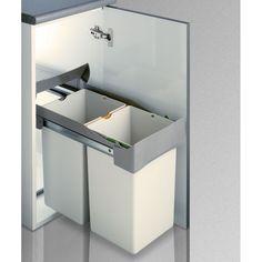 CUBO RECICLAJE 14 + 14L - 64.13€- Cubo de reciclaje rectangular compuesto por 2 contenedores para la separación de los residuos en tu hogar. Ideal para separar la basura orgánica, del plástico o del papel, por ejemplo. Apertura automática de la tapa. Extracción manual. Se fija a la base del armario. - Tienda online Casaenorden - Te ayudamos a organizar tus armarios