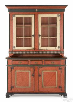 """Pennsylvania painted pine two-part Dutch cupboard, ca. 1790, retaining a later painted surface, 94-1/2"""" H. x 60"""" W. Provenance: Dittmar, Freehold, New Jersey."""