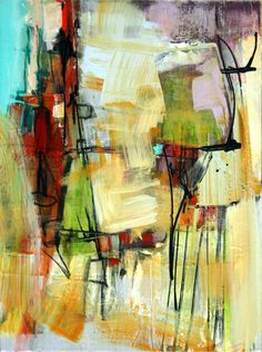 Abstract painting on canvas and paper