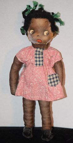 Vintage Black Cloth Doll Paper Face Adorable Miniature