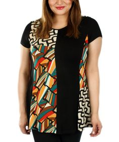 Take a look at this Black & Red Abstract Patchwork Tunic - Plus on zulily today!