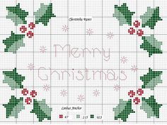 Merry Christmas and holly cross stitch pattern