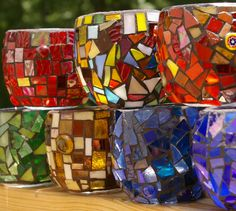 Candle Holder Medium Sized Stained Glass Mosaic by Red Crow Arts. $22.00, via Etsy.