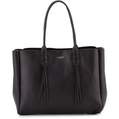 Lanvin Leather Medium Fringe Tote Bag ($1,550) ❤ liked on Polyvore featuring bags, handbags, tote bags, handbags totes, navy, leather handbags, leather purses, leather fringe purse, genuine leather tote and leather hand bags