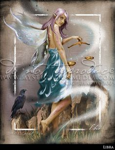 Libra ... ZODAIC Fairy Fantasy Art...Crow and by mysticmoonmedia