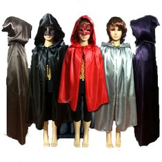 Children Gothic Hooded Stain Cloak Wicca Robe Witch Larp Cape Boy Girl Halloween Costumes Witche Vampires Fancy Party
