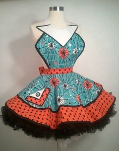 Jane Jetson Pin Up Apron Atomic Age Costume  Ready by PickedGreen, $75.00