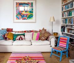 Put Down the Paintbrush: 10 Ways to Add Color Without Painting — Renters Solutions Renters Solutions, Home Office, Apartment Painting, Period Living, Deco Boheme, White Rooms, White Walls, Apartment Living, Apartment Therapy