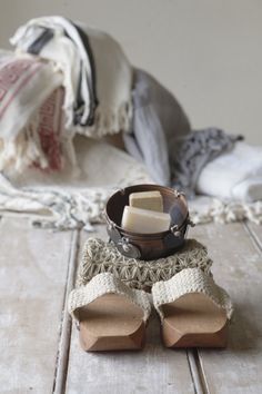 Hammam clog with Peshtamals and copper soap bowl.