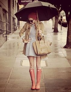 Love the peachy boots as the color appears... I need rain boots