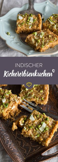 Besan Burfi – indischer Kichererbsenkuchen A cake made from chickpea flour, cardamom and sugar syrup with a hint of saffron. Welcome to sweet India. Dessert Sushi, Vegan Sushi, Vegan Pizza, Indian Food Recipes, Vegetarian Recipes, Cake Vegan, Vegan Sweets, Bread Baking, How To Make Cake