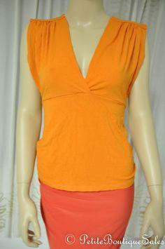 WINDSOR ORANGE KEYHOLE BACK V NECK TOP T SHIRT BLOUSE S SMALL WOMEN'S CLOTHING