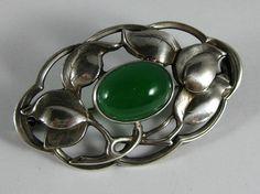 Vintage  Chrysoprase Germany Art Nouveau Sterling Brooch Pin THEODOR FAHRNER? #TeodorFahrner